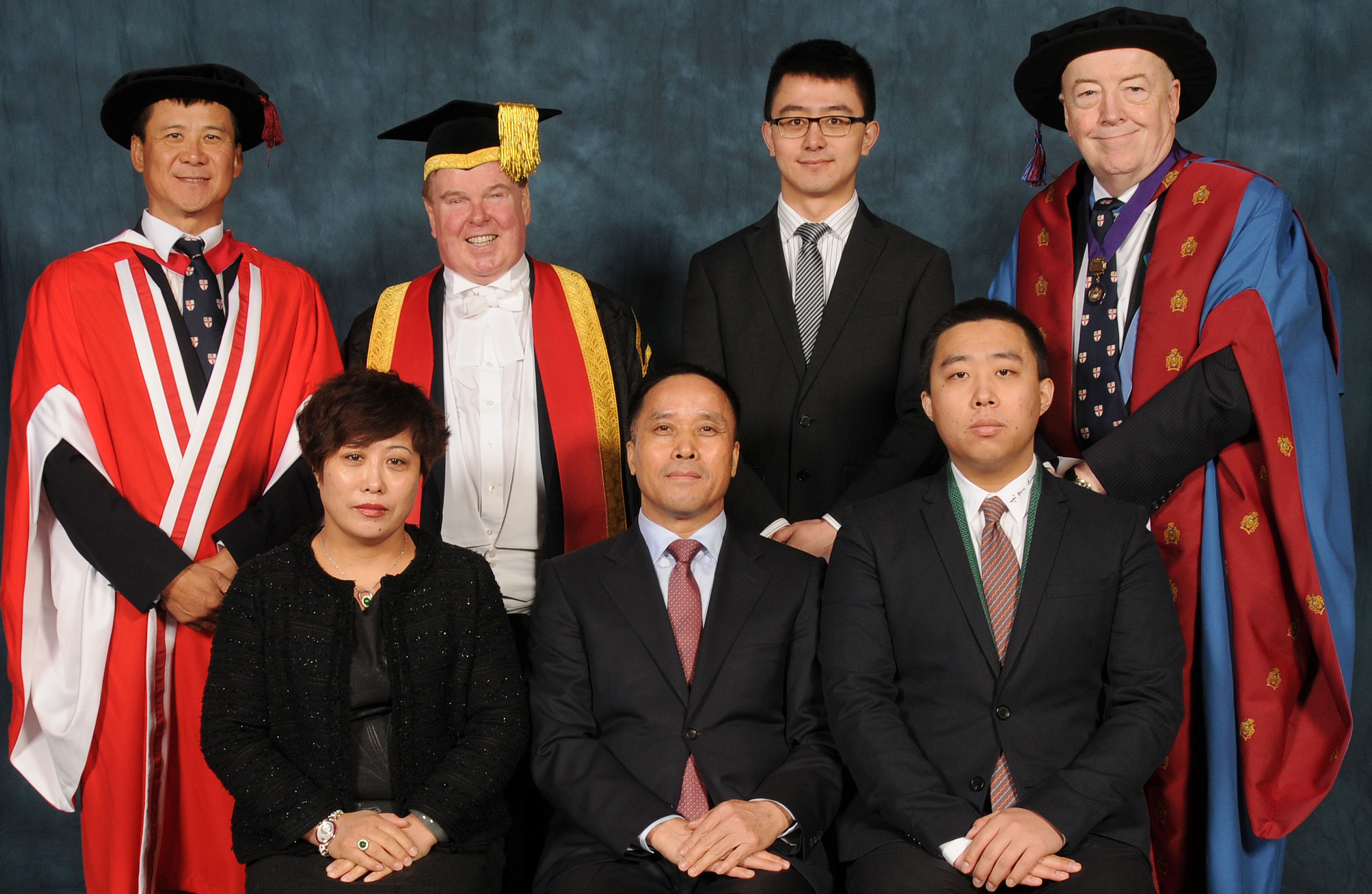 Back Row:   Professor Henry Sun, Vice Chancellor, Professor Tim Wheeler, Sen Yang ( Michael) and Professor Phil Harris Front Row:  Mrs Mei, Mr Mei and Mei, Jing Long